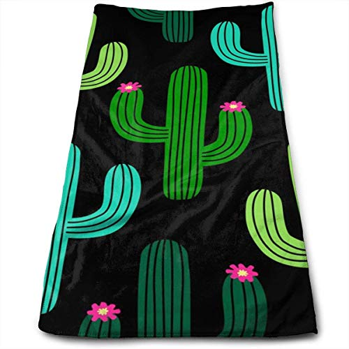 Cute Cactus Pattern Hand Towels Dishcloth Quick Dry Microfibre Towel Super Soft Extra Absorbent for Bath,Spa and Gym 12 X 27.5 Inch