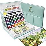 Acuarela Colores Set Acuarela Caja de Pintura 48 Colores Pigmento Sólido Soluble en Agua y Bien Macible Colores de Acuarela