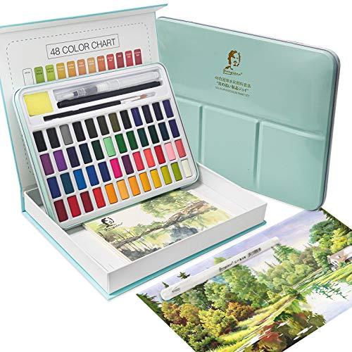 Aquarellfarben Set Aquarell Malkasten 48 Farben Festes Pigment Wasserlöslich und Gut Mischbar Watercolor Pigment Paints Set
