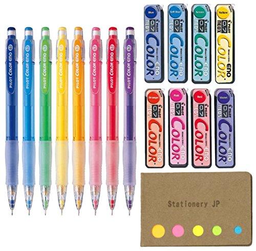 Pilot Color Eno Mechanical Pencil, 0.7mm, 8 Colors, Mechanical Pencil Lead Refill, 0.7mm, 8 Colors, Sticky Notes Value Set