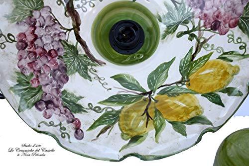 Lampadario Cucina Ceramica diametro 45 centimetri Linea Uva Limoni coppetta a soffitto PARTI ELETTRICHE Ceramica Le Ceramiche del Castello Pezzo Unico Handmade Made in Italy