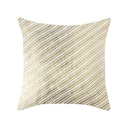 Amesii - Funda de cojín con estampado en tono dorado para decoración del hogar