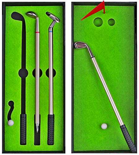 Golf Club Pen Set Gifts for Men Dad - Funny Unique Gag Stocking Stuffers - Novelty Desktop Sports Games Desk Toys - Office White Elephant Gifts for Boss Coworker - Cute Mini Golf Course Putting Green