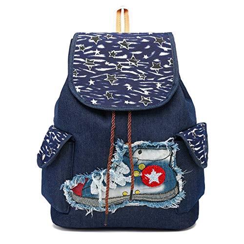 CCCLLL Children's Backpack, 15 Inches Retro Folk-custom Embroidered Neutral Drawstring School Bag Denim Material Breathable Wear Resistant High Capacity Leisure Travel Rucksack,C