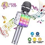 BlueFire Karaoke Mikrofon, Bluetooth Mikrofon Kinder, Tanzen LED Lichter Drahtlose Tragbares Microphon mit Lautsprecher Aufnahme für Erwachsene und Kinder, Kompatibel mit Android IOS PC (Silber)