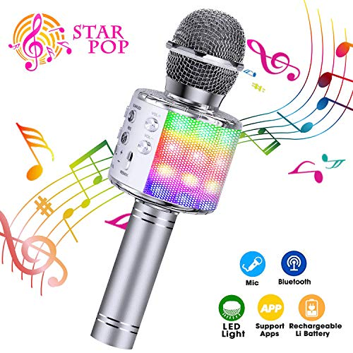 ShinePick Microfono Karaoke, 4 in 1 Bluetooth Wireless Microfono Portatile Karaoke Player con Altoparlante per Android/iOS, PC e Smartphone (Argento)