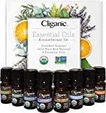 Cliganic USDA Organic Aromatherapy Essential Oils Set (Top 8), 100% Pure Natural - Peppermint, Lavender, Eucalyptus, Tea Tree, Lemongrass, Rosemary, Frankincense & Orange | Cliganic 90 Days Warranty