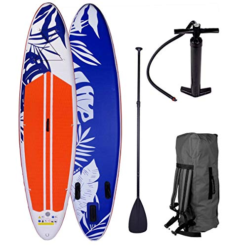 SUP Board Stand up Paddle Fusion 2 Größen 300-320x76x15cm aufblasbar Double Layer MFL Alu-Paddel Hochdruck-Pumpe Rucksack Kick-Pad 140KG Paddling Surfboard Orange 300cm