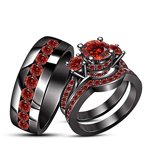 TVS-JEWELS Three Stone Round Cut Red Garnet Trio Anniversary Ring with Band Set for Men's & Women's