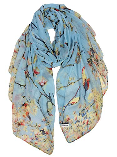 GERINLY Scarfs for Women Lightweight Birds Florals Scarves for Summer Outfits Accessories (Light Blue)