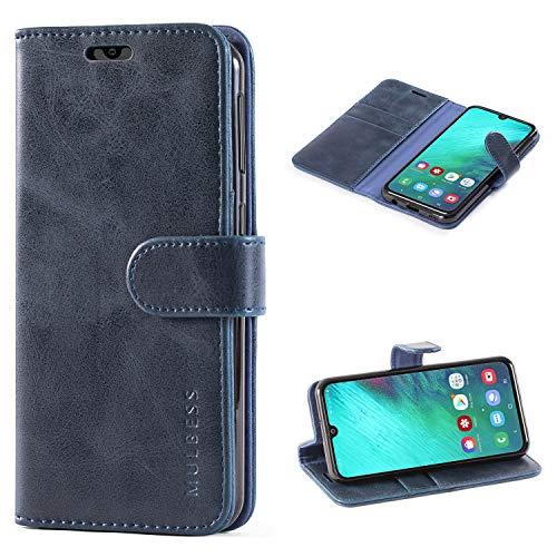 Mulbess Handyhülle für Samsung Galaxy A40 Hülle, Leder Flip Hülle Schutzhülle für Samsung Galaxy A40 Tasche, Dunkel Blau