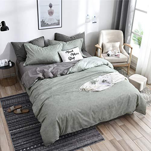 Boqingzhu Bettwäsche 220 x 240cm Grün Hellgrün Grau Anthrazit Microfaser Wendebettwäsche Set Uni Doppelbett Bettbezug mit Reißverschluss und 2 Kissenbezüge 80 x 80 cm