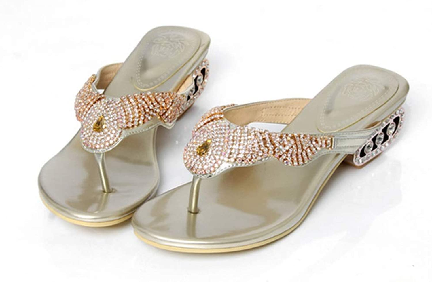 Flipflop Flip-Flops, Damenschuhe Strasssteine Outdoor-Sandalen aus Leder und Hausschuhe mit Zehenstrand-Hausschuhen (Farbe   Gold, Größe   35)