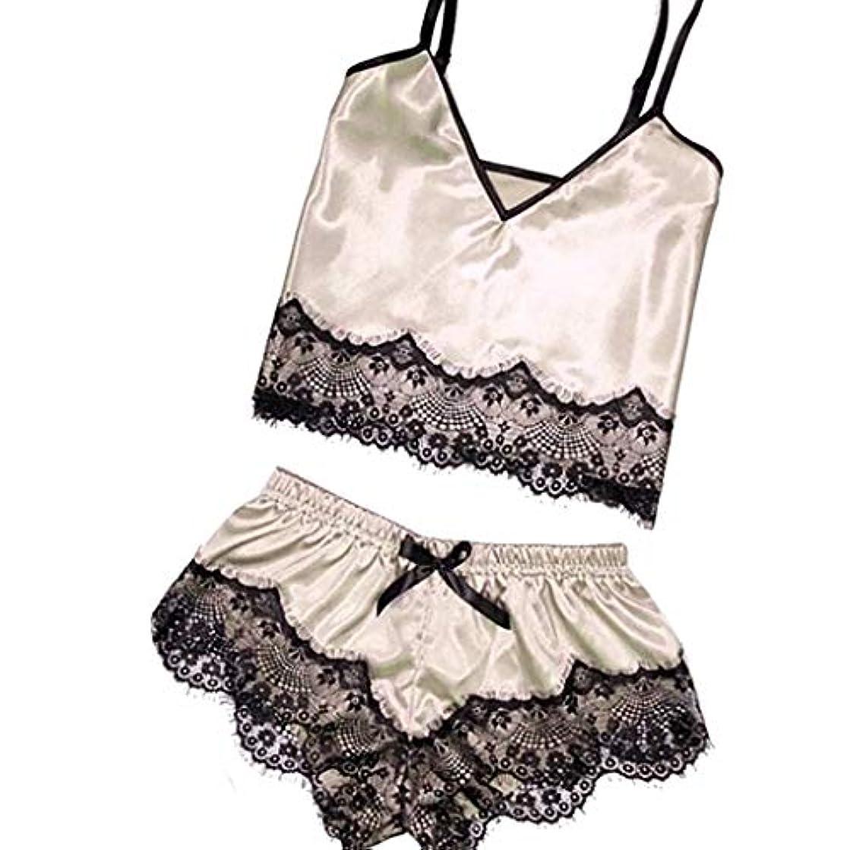 Xinantime Summer Women's Lace Trim Underwear Lingerie Sleeveless Straps Bralette Pajama Set Satin Silk Nightwear Shorts