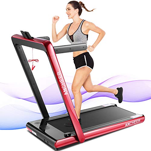 ANCHEER Treadmill, 2 in 1 Folding Treadmill with Remote Control and Bluetooth Speaker, 2.25HP Under Desk Electric Treadmil Machine for Exercise,Installation-Free
