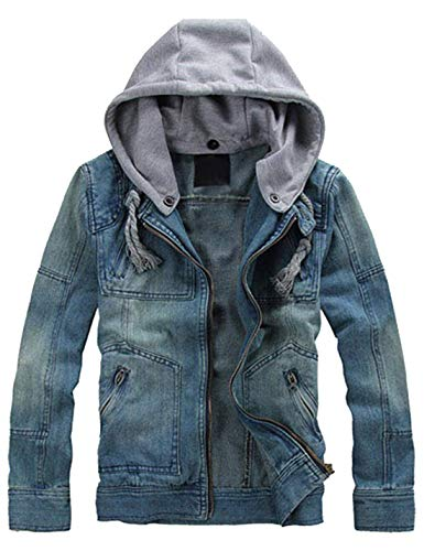 Lentta Men's Slim Fit Zip Up Removable Hooded Drawstring Denim Jean Biker Jacket (X-Small, Blue)