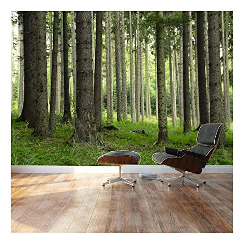 Wall26 - Tree Trunks in a Beautiful Green Forest - Landscape - Wall Mural, Removable Sticker, Home Decor - 100x144 inches