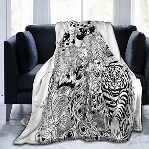 XINGAKA Manta de Franela Suave,Animales Dragón Fénix Tortuga Tigre Criaturas mitológicas Tatuaje Feng Shui,Cama de Camping para sofá 153x127cm