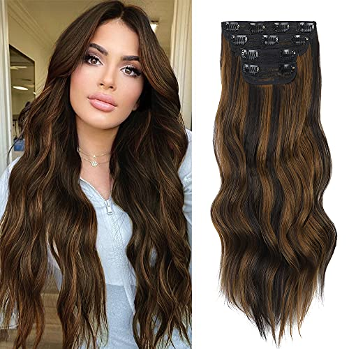 4PCS WAVY LONG SYNTHETIC HAIR EXTENSIONS CLIP IN HAIRPIECES FIBER DOUBLE WEFT SOFT HAIRPIECE INVISIBLE CLIP EXTENSIONS FOR WOMEN (20 INCH 6 | 27-CURLY)