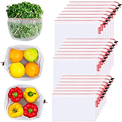 OTAGO 21 Packs Reusable Mesh Produce Bags,Nature-Friendly Washable and See Through with Colorful Drawstring Tare Weight Tags for Shopping,Fruits,Vegetable(3 Sizes-7 Large 7 Medium &7 Small),Red
