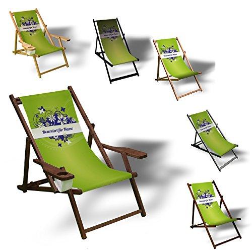 Printalio - Wunschtext - Green Floral - Liegestuhl Bedruckt Balkon Garten Sonnenliege Relax Holz Terrasse | mit Armlehne, Dunkelbraun