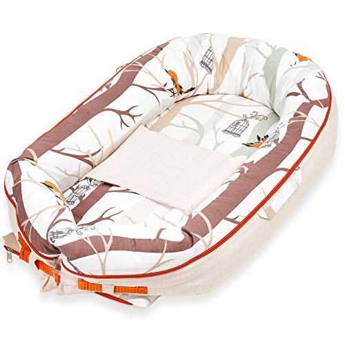 Fantastic Prices! Little Vi Baby Nest Bed - Portable Baby Lounger - Adjustable Baby Nest Bed Newborn...