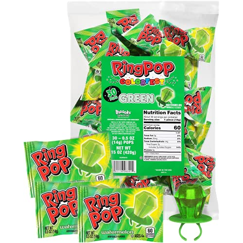 Ring Pop Individually Wrapped Back to School Green Watermelon Party Pack – 30 Count Watermelon Flavored Green Candy Lollipop Suckers - Green Candy for School Treats & Care Packages