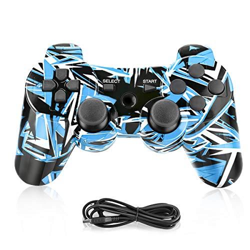 PS3 Controller,Powcan Wireless Controller für PS3,Bluetooth Gamepad Joystick,Dual-Vibration 6-Achsen Gaming Controller mit Ladekabel für PS3 Controller PC und Windows 7/ 8/ 9/ 10