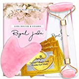 Royal Jade   Rose Quartz Roller and Gua Sha Scrap Tool   Plus 24K Gold Eye Treatment Masks 3 Pairs   Anti-Aging Beauty Kits for Slimming, Toning and Firming Skin   Reduce Puffy Eyes and Firm Wrinkles