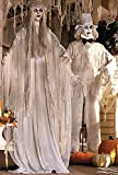 Halloween Prop Lifesize Animated Ghost Bride and Groom with Flashing Red Eyes