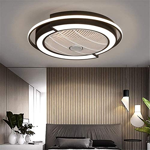 Lámpara De Techo Dimmable De Control Remoto LED Moderno 60W Ventilador De Techo Con Luces Para Comedor, Negro, 58 Cm / 23 Pulgadas