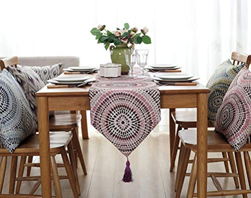 "YJBear Polyester Bohemian Flower Pattern Breathable Jacquard Weave Home Decoration with Fringe Kitchen Table Runner for Parties Halloween Christmas Machine Washable Pink 12"" X 87"""