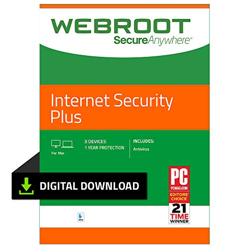 Webroot Internet Security Plus with Antivirus Protection – 2019 Software | 3 Device | 1 Year Subscription | Mac Download