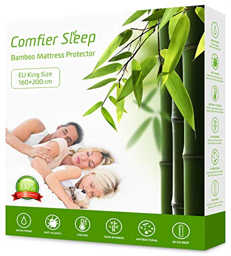 Comfier Sleep Waterproof Mattress Protector EU King size (160 x 200 cm) Bamboo Anti allergy Naturally Cooling Breathable and Non noisy for deep EU King bed
