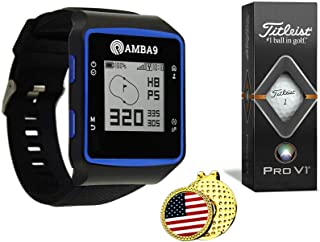 $89 » Amba9 GPS Golf Watch Bundle with 1 Sleeve of Titleist Pro V1 Balls, 1Ball Marker and 1 Hat Clip - Rangefinder with Preload...