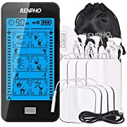TENS Machine with Touch Screen, RENPHO Dual Channel 24 Modes Muscle Stimulator for Pain Relief & Arthritis & Muscle Stiffness, Soreness and Aches, Electronic Pulse Massager Muscle Massager with 8 Pads