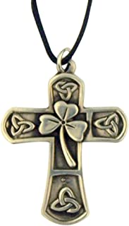 Shamrock Celtic Cross 1 5/8 Inch Silver Tone Pendant on Cord Chain