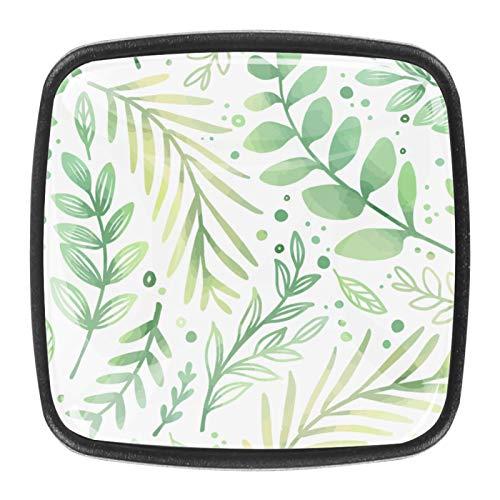 Con tornillos para cocina, aparador, armario, baño, pomos para armarios de cocina, pomos de armario de cristal transparente de 1.18 pulgadas de diámetro, hojas verdes dibujadas a mano