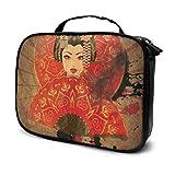 Cute Dibujos Animados Geisha con Japón Travel Travel Toiletry Bag para niños Maquillaje Bolsa de cosméticos Bolsa de Maquillaje Grande para Mujeres Bolsa Impresa multifunción para Mujeres