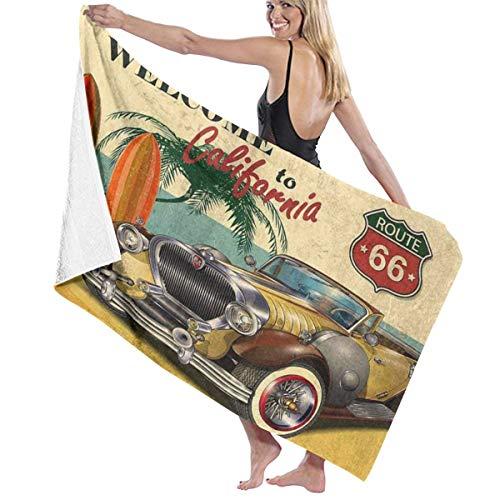 """Ouqiuwa """"Welcome to California"""" Retro-Poster mit Route 66 Mikrofaser, weich, groß, Mehrzweck-Duschtücher, sehr saugfähig, für Badezimmer, Pool usw."""