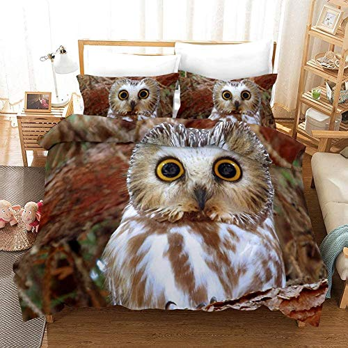 Damqskd Boys Duvet Cover Modern Yellow White Owl Animal - Single (135 X 200 Cm) - 3D Printed Reversible Duvet Cover Soft Bedding Cover Skin-Friendly Cover With Pillowcase Fashion Comforter Cover For