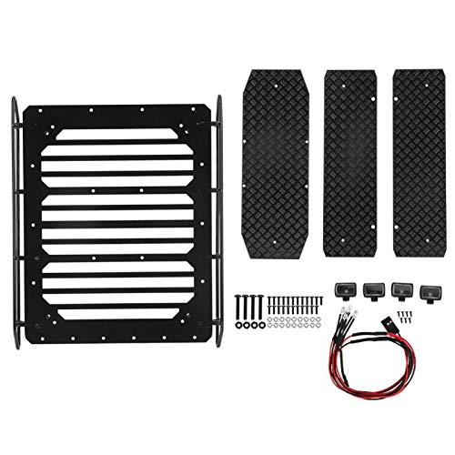 Teror Portaequipajes de Techo, portaequipajes de Techo de Metal Accesorio de Coche RC Apto para Trax-xas TRX6 6X6 G63(Rack with Anti-Skid Board and LED Light)