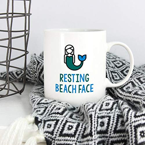 Mermaid Mug Resting Beach Face Winter Mug, Tea Cup, 11 oz Coffee Mug