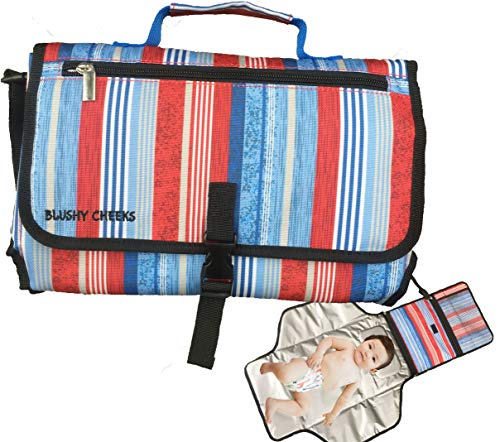 Diaper Clutch Wipeable Changing Pad Station BLUSHY CHEEKS - Baby Portable Travel Diaper Changing Station Clutch - Compact Waterproof Diaper Pad bag that Guards hygiene - BPA-Free - Trendy Blue Stripes