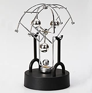 PROW Creative Fan shaped 3 Ball Magnetic Battery Powered 360° Never-Stop Bilateral Rotation Physical Swing Toy Newton's Cradle Simple Furniture Decoration