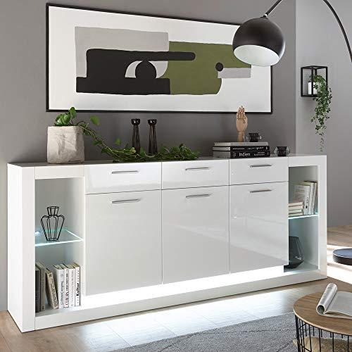 Lomadox Sideboard in grau anthrazit matt mit kastanienbraun, 3 Türen, 3 Schubkästen, LED-Beleuchtung, B/H/T: 198/83/43cm
