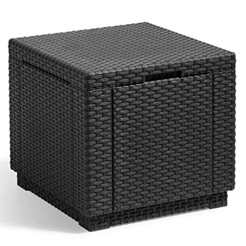 ALLIBERT JARDIN Table cube imitation rotin tressé avec rangement de 60 l - 42x42x39 cm - Graphite