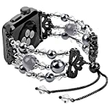 Junwei Handmade Wristband Compatible with Apple Watch Band Series 4/3/2/1, Women Attractive Jewelry iWatch Bangle Bracelet Elastic Wrist Band with Bling Pearls Beads & Tassel Style - Black 38mm 40mm
