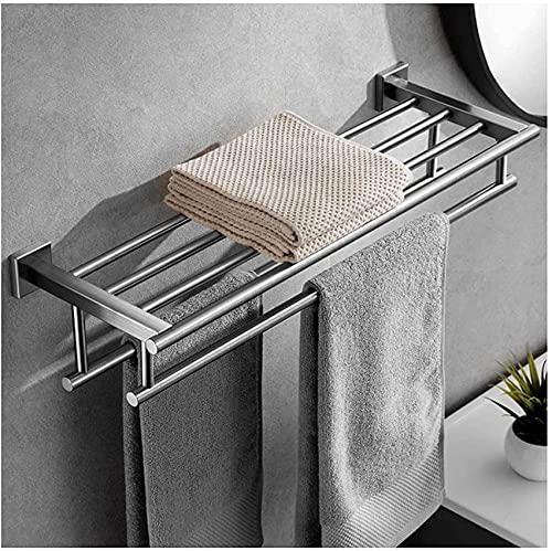 YIHANGG Toallero de baño, toallero con 2 estantes, toallero Doble de Acero Inoxidable, toallero de baño, toallero, 60cm, Montaje en Pared, establo y