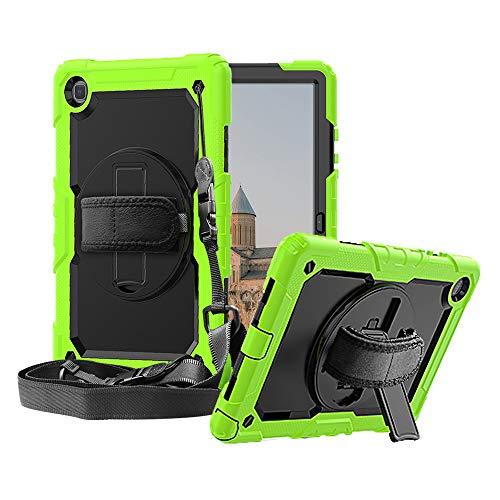 FAN SONG Funda para Samsung Galaxy Tab A7 2020 10,4 Pulgada, Carcasa Resistente con Soporte/Correa de Mano[360 Grados de Rotacion] y Bandolera para Galaxy Tab A7 10.4 SM-T500/T505, Verde